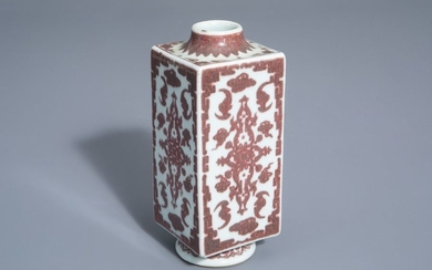A Chinese cong shaped underglaze red 'bats' vase,...