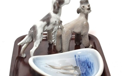 A Copenhagen Poodle, a Setter, and a dish painted with...