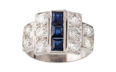 A DIAMOND AND SAPPHIRE PLAQUE RING, set with three sapphires...
