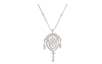 A DIAMOND SET CHANDELIER PENDANT AND CHAIN, of open worked d...
