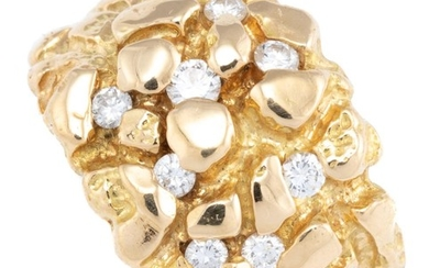 A GENT'S 18CT GOLD DIAMOND RING; 16mm wide tapered boulder texture set with 8 round brilliant cut diamonds, size U, wt. 14.36g.