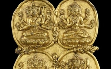A GILT COPPER RELIEF OF MARICI, TIBET 17TH CENTURY