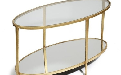A GILT METAL OVAL COFFEE TABLE LATE 20TH...