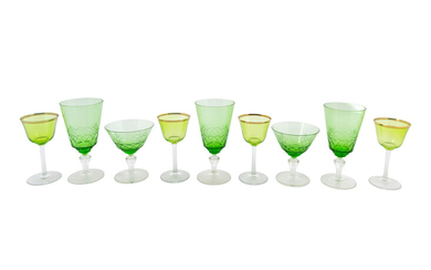 A Group of Colored and Cut Glass Stemware