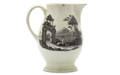 A LARGE AND EARLY WEDGEWOOD CREAMWARE JUG WITH VIEWS OF ATHENS