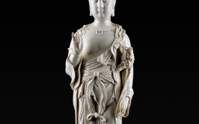 A LARGE CHINESE PORCELAIN FIGURE OF A GUANYIN IN THE MANNER OF HE CHAOZONG, DEHUA, QING DYNASTY, LATE 19TH-EARLY 20TH CENTURY