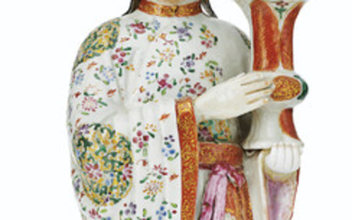 A LARGE FAMILLE ROSE COURT LADY CANDLEHOLDER, QIANLONG PERIOD (1736-95)