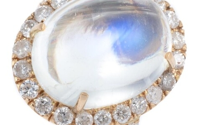 A MOONSTONE AND DIAMOND COCKTAIL RING; centring an approx. 10ct cabochon moonstone (14.4 x 11.8mm) to surround and shoulders set wit...