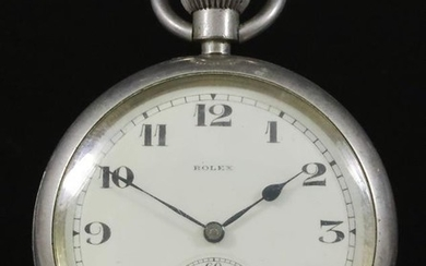 A Nickel Plated Open Faced Keyless Military Pocket Watch,...