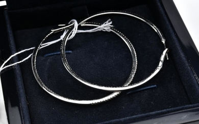 A PAIR OF BLACK AND WHITE DIAMOND HOOP EARRINGS BY CALLEIJA IN 18CT WHITE GOLD, BOXED WITH PAPERS