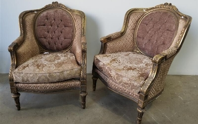 A PAIR OF GILT FRAMED PARLOUR CHAIRS