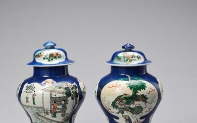 A PAIR OF POWDERBLUE GROUND FAMILLE VERTE LIDDED...