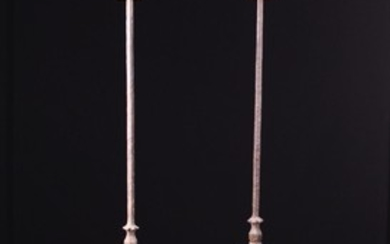 A Pair of 18th Century Style Wrought Iron Floor Standard Twin-socket Candle Holders. The candle sock