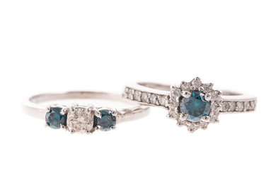 A Pair of Blue Diamond Rings in 14K White Gold