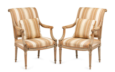 A Pair of Louis XVI Gray-Painted Fauteuils