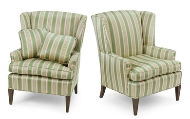 A Pair of Upholstered Wingback Chairs.
