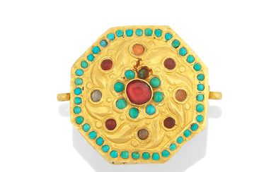 A Qajar turquoise-set enamelled gold amulet case, Persia, 19th Century