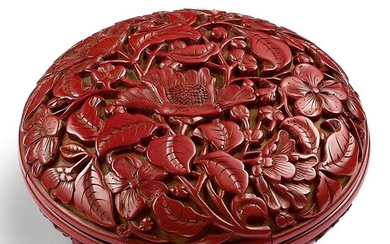 A RARE CINNABAR LACQUER 'FLORAL' BOX AND COVER INCISED MARK AND PERIOD OF YONGLE   明永樂 剔紅花卉紋圓蓋盒 《大明永樂年製》針刻款