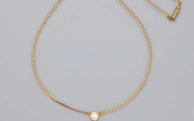 A. ROURE. Necklace in yellow gold, 750 MM, centered on a brilliant-cut diamond in a setting weighing 0.20 carat, signature on clasp, length 46 cm, eight security clasp, weight: 8.8gr. rough.