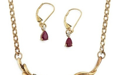 A RUBY AND DIAMOND NECKLACE AND EARRINGS, the necklace