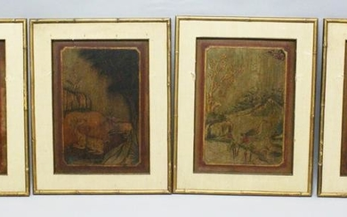 A SET OF FOUR 19TH CENTURY CHINESE FRAMED PAINTED WOOD