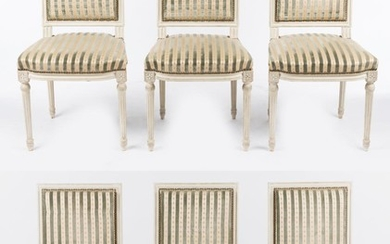 A SET OF SIX WHITE PAINTED LOUIS XVI STYLE DINING CHAIRS IN STUDDED SILK AND VELOUR STRIPED UPHOLSTERY, 92CM H. SPECIAL NOTE REGARDI...