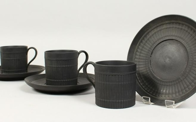 A SET OF THREE WEDGWOOD BLACK BASALT BAMBOO PATTERN