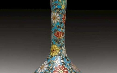 A SMALL TURQUOISE-GROUND CLOISONNE ENAMEL VASE WITH CHRYSANTHEMUM DECORATION.
