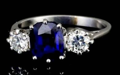 A Sapphire and Diamond Three Stone Ring, Modern, in...