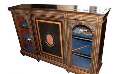 A Victorian Aesthetic Movement Ebonised and Burr Walnut Crossbanded Credenza,...