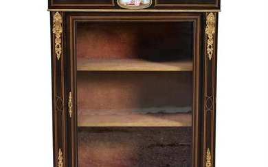 A Victorian ebonised, string inlaid, and gilt metal mounted side cabinet