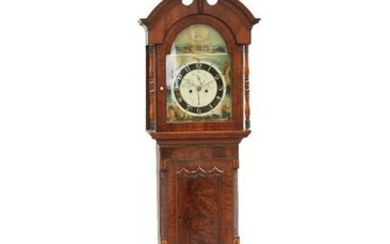 A WEST YORKSHIRE BRASS-INLAID MAHOGANY EIGHT-DAY