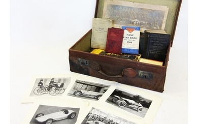 A collection of books and ephemera to a vintage leather case...