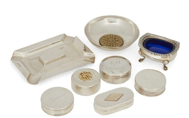 A collection of silver items, comprising: five...