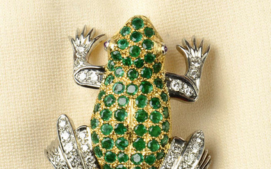 A diamond and emerald frog brooch, with ruby eyes.