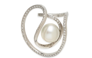 A free-form cultured pearl and diamond ring