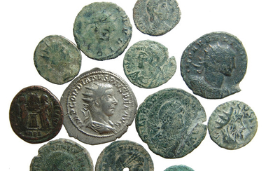 A group of 12 Roman silver and bronze coins