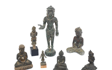 A group of seven various copper-alloy Buddhist figures
