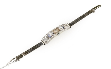 A lady's diamond wristwatch, Art Deco style