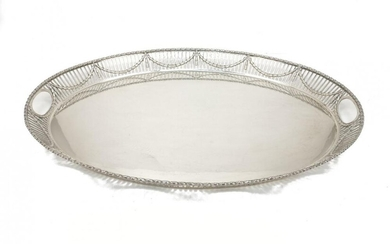 A large silver oval Adam style tray,...