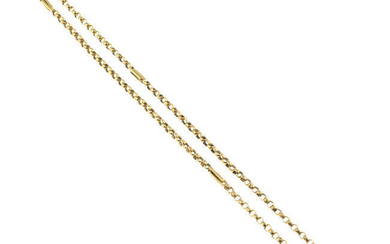 A late 19th century 9ct gold longuard chain.