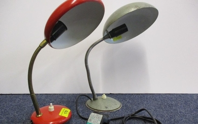 A mid 20th century Italian desk lamp in red with brass adjus...