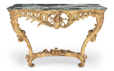 A pair of 19th century 'Rococo revival' giltwood serpentine console tables