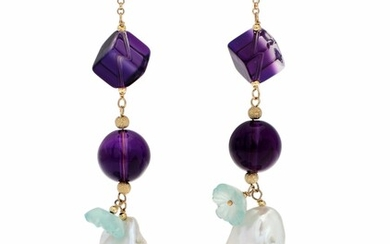 NOT SOLD. A pair of ear pendants each set with amethysts, aquamarine and a baroque...