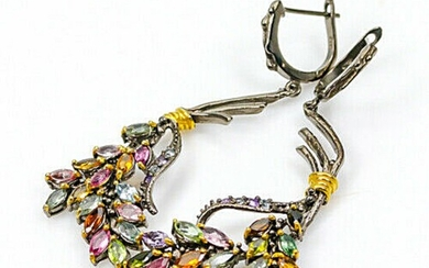 A pair of ear pendants each set with numerous navette-cut tourmalines, amethysts and topazes, mounted in black rhodium and gold plated sterling silver. (2)