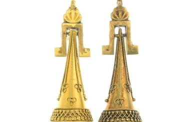 A pair of late 19th century gold earrings.Length