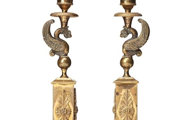 A pair of late Gustavian candlesticks, early 19 century.