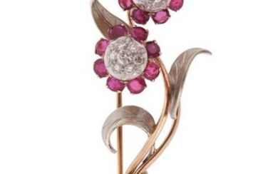 A ruby and diamond-set convertible gold brooch, the flowerheads set with cushion-shaped rubies and round brilliant-cut diamonds in two colour gold, the flowers detach to be worn as earrings, brooch 6.5cm high, earrings 1.5cm wide, post fittings, fitted...