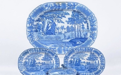A selection of Davenport blue and white printed pearlware 'Tudor Mansion' pattern dinner wares