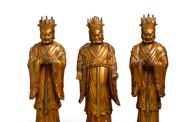 A set of three lacquered Wood Daoist household guardians